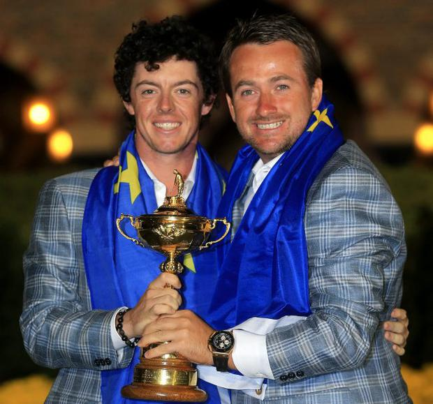 Golfers Rory McIlroy and Graeme McDowell in jubilant mood