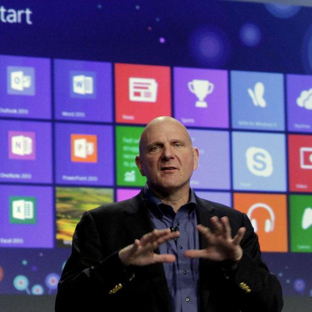 Microsoft CEO Steve Ballmer gives his presentation at the launch of Microsoft Windows 8 in New York (AP)