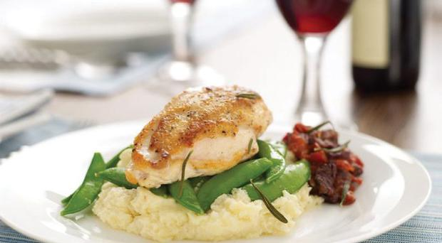 Pan roasted chicken breasts with tomato compote and parsnip puree
