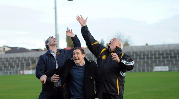 John McAreavey with Joe Kernan (Ulster Manager) and Jim McGuinness (Donegal Manager) at the Launch of the 'Match for Michaela' which will take place on November 3 at Casement Park
