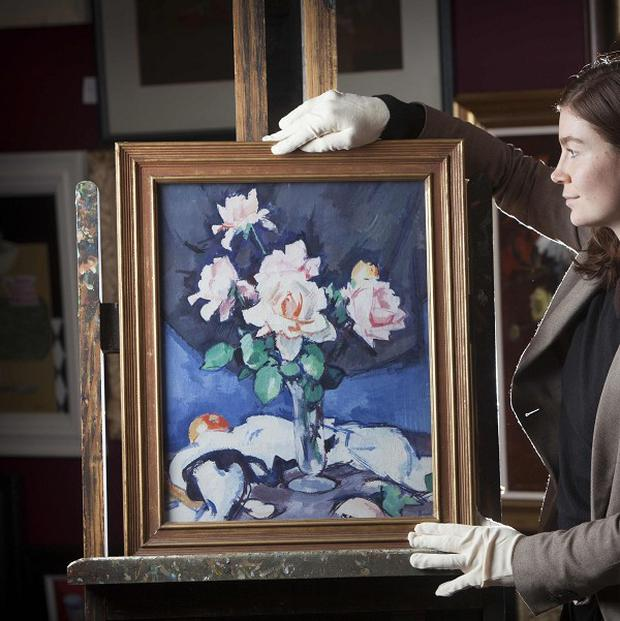 Pink Roses by Samuel John Peploe has been auctioned for 225,000 pounds