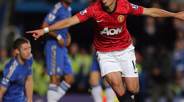Manchester United's Javier Hernandez celebrates scoring the winner