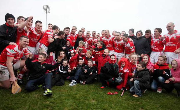 Winning way: Loughgiel after the successful defence of their Ulster title against Portaferry at Casement Park