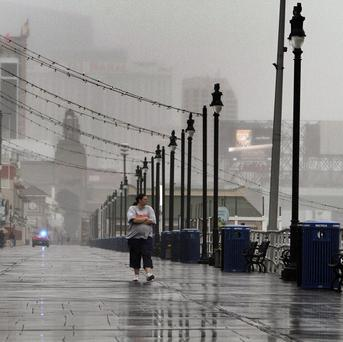 Stormy conditions hit the Atlantic City Boardwalk in New Jersey as Hurricane Sandy nears (AP)