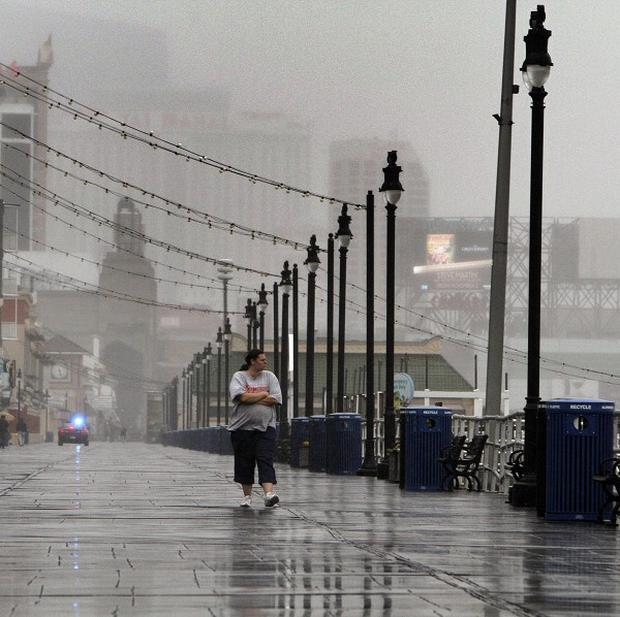 Stormy conditions hit the Atlantic City Boardwalk in New Jersey (AP)