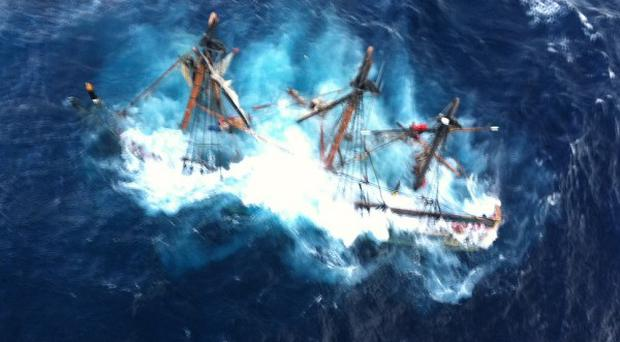 The HMS Bounty submerged in the Atlantic Ocean during Hurricane Sandy (AP/US Coast Guard, Petty Officer 2nd Class Tim Kuklewski)