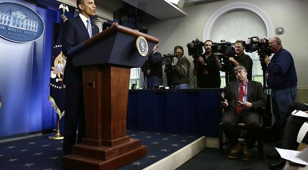 President Barack Obama speaks in the White House briefing room during an update on Superstorm Sandy (AP)