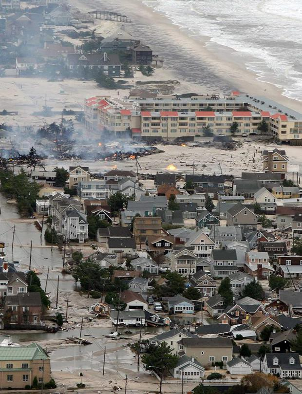 Damage north of Seaside, N.J. on Tuesday, Oct. 30, 2012 after superstorm Sandy made landfall in New Jersey