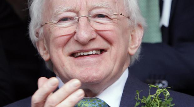 Irish President Michael D Higgins delivered the British Council's annual lecture at Queen's University Belfast