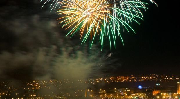 Fireworks pictured at the annual Banks of the Foyle Halloween Carnival