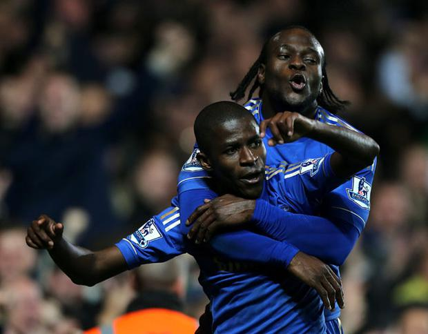 Chelsea's Nascimento Ramires celebrates scoring his side's fifth goal with team-mate Victor Moses during the Capital One Cup, Fourth Round match at Stamford Bridge, London. PRESS ASSOCIATION Photo. Picture date: Wednesday October 31, 2012. See PA story SOCCER Leeds. Photo credit should read: Nick Potts/PA Wire. RESTRICTIONS: Editorial use only. Maximum 45 images during a match. No video emulation or promotion as 'live'. No use in games, competitions, merchandise, betting or single club/player services. No use with unofficial audio, video, data, fixtures or club/league logos.