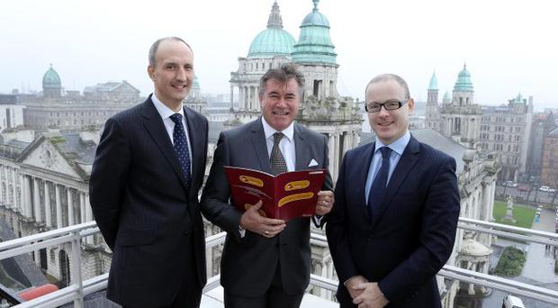 From left: Ian Sheppard, Bank of Ireland's head of corporate banking; Alan Crowe, chief executive of Co-Ownership Housing; and Niall Quinn, head of structured finance, Barclays