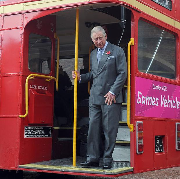 The Prince of Wales on board the London Poppy Day red bus