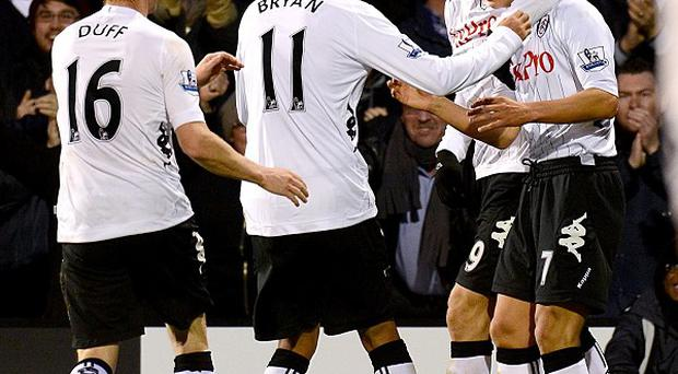 Fulham's Steve Sidwell (right) celebrates after scoring Fulham's equaliser