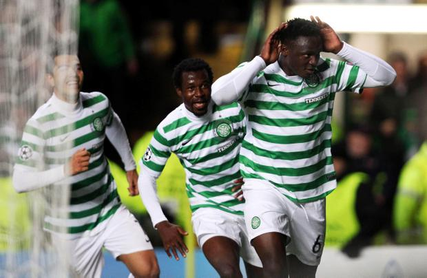 Celtic 2-1 Barcelona: Celtic's Victor Wanyama celebrates scoring during the UEFA Champions League Group G match between Celtic and Barcelona at Celtic Park on November 7, 2012 in Glasgow, Scotland.