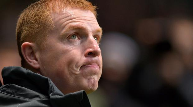 GLASGOW, SCOTLAND - NOVEMBER 07: Neil Lennon coach of Celtic during the UEFA Champions League Group G match between Celtic and Barcelona at Celtic Park on November 7, 2012 in Glasgow, Scotland. (Photo by Jeff J Mitchell/Getty Images)