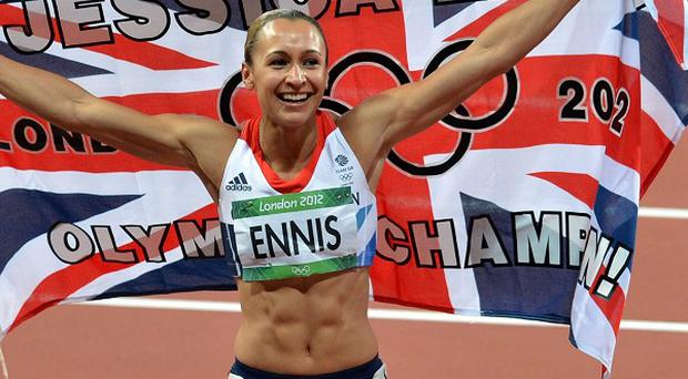 Jessica Ennis celebrates winning the heptathlon during the London Olympics