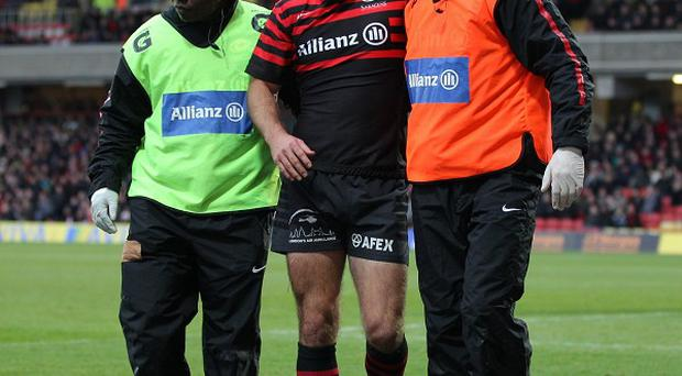 Charlie Hodgson, centre, will be sidelined 'for a number of weeks' after undergoing surgery on a fractured cheekbone