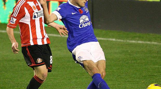 Nikica Jelavic, right, scored Everton's winning goal against Sunderland