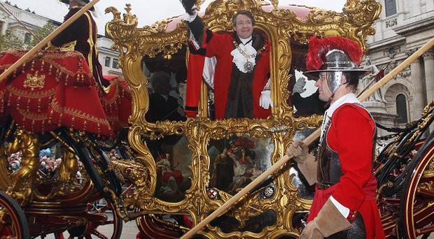 Alderman Roger Gifford the new Lord Mayor of the City of London takes part in the Lord Mayor's Show