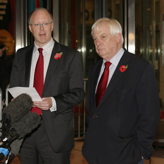 BBC director general George Entwistle announces his resignation alongside BBC Trust chairman Lord Patten