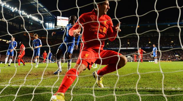 LONDON, ENGLAND - NOVEMBER 11: Luis Suarez of Liverpool celebrates scoring the equaliser during the Barclays Premier League match between Chelsea and Liverpool at Stamford Bridge on November 11, 2012 in London, England. (Photo by Mike Hewitt/Getty Images)