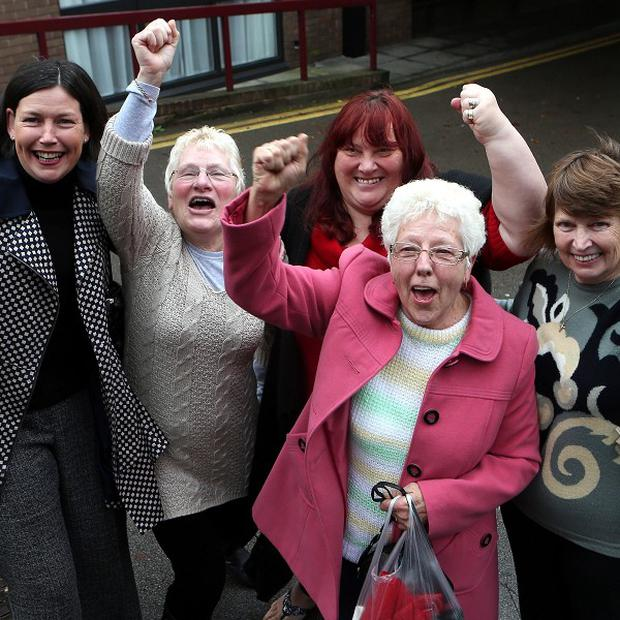 Birmingham Council workers celebrate after Supreme Court justices ruled they could launch pay equality compensation claims in the High Court