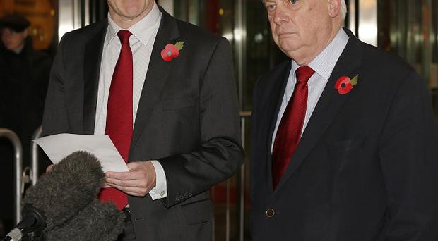 George Entwistle, left, announced his resignation in an appearance with BBC Trust chairman Lord Patten