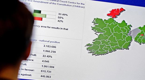 A journalist looks at a screen showing constituencies who voted no in the Children's Referendum (depicted in red) at the Dublin Castle count centre