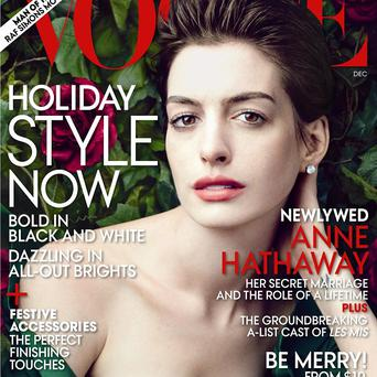 Anne Hathaway on the cover of the December issue of Vogue (AP Photo/Vogue)