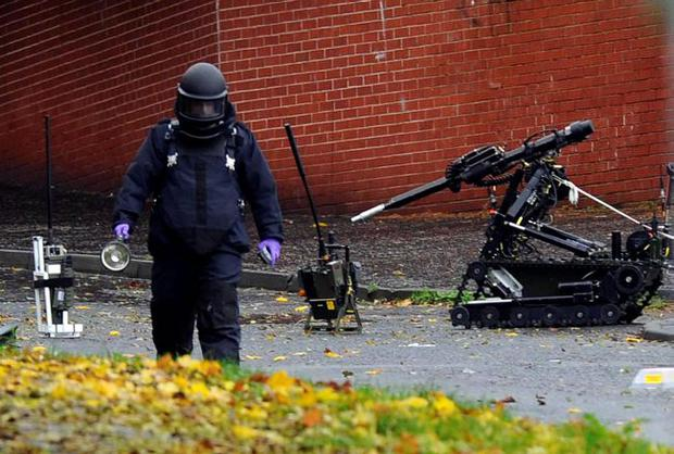 An Army technical officer at the scene of the security alert on Ballymagarry Lane in north Belfast