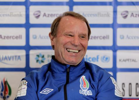 Azerbaijan coach Bertie Vogts during a press conference ahead of Wednesday night's World Cup 2014 Qualifier against Northern Ireland at Windsor Park