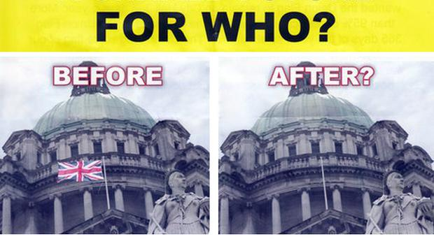 One of the leaflets distributed across Belfast