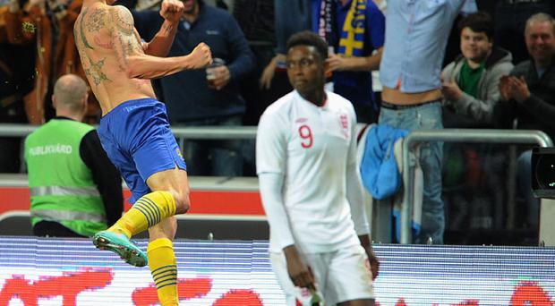 Zlatan Ibrahimovic of Sweden celebrates scoring his 4th goal during the international friendly match between Sweden and England
