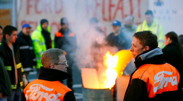 United: Visteon workers protesting at the Belfast plant in 2009