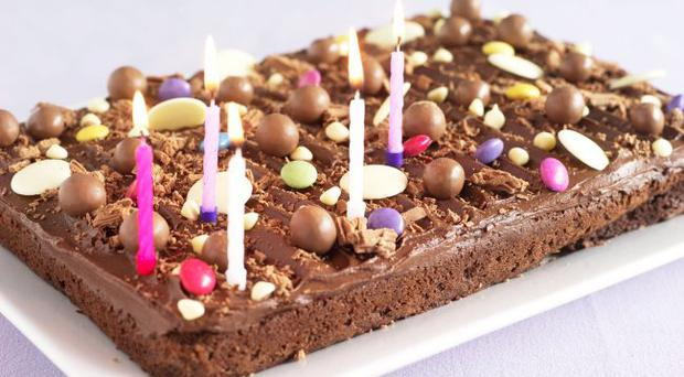Chocolate birthday tray bake