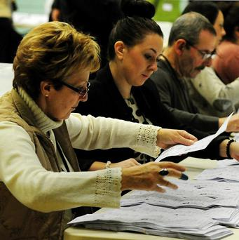 The counting of votes commences in the Corby by-election at Lodge Park Sports Centre in Northamptonshire