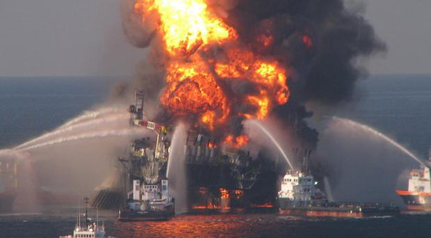 Fire boat response crews battling the blazing remnants of the oil rig Deepwater Horizon.(AP)