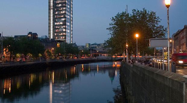 Liberty Hall, the 17-storey headquarters of the trade union on Eden Quay overlooks the River Liffey