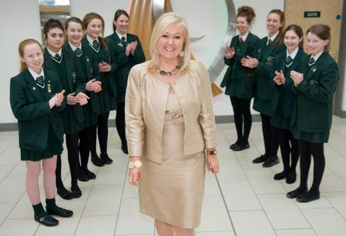 Kathleen Gormley at the send-off earlier this year from her previous school, St Cecilia's in Derry, where she spent 10 years as principal