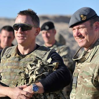 Daniel Craig during a visit to Camp Bastion to meet soldiers and introduce the film Skyfall