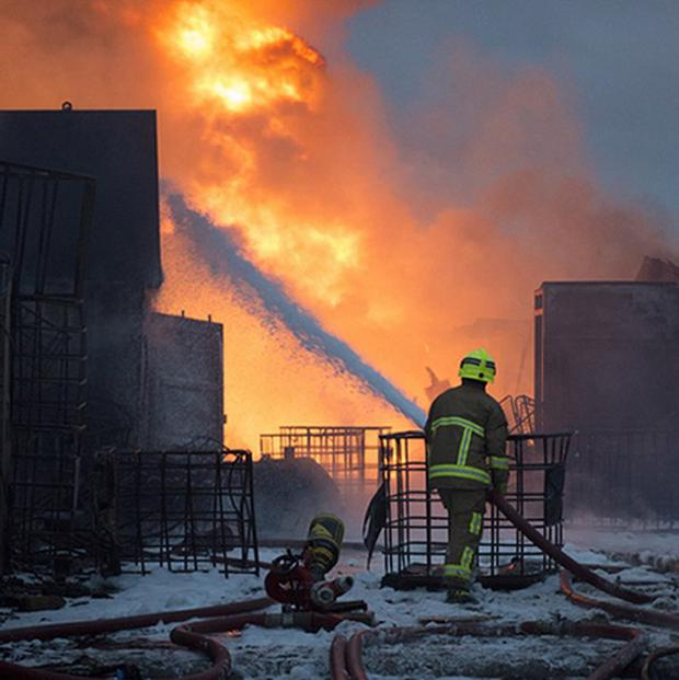 Fire crews have been tackling a large blaze at a recycling yard in Essex (Graham S Dean/Essex Fire Service/PA Wire)