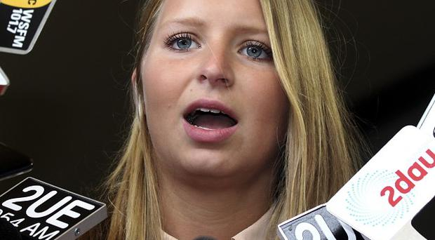 Madeleine Pulver outside the New South Wales State District Court, in Sydney, Australia (AP/Rob Griffith)