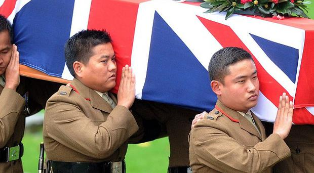 The coffin of Lt Edward Drummond-Baxter, from the Royal Gurkha Rifles, who was killed in Afghanistan last month is carried into Durham Cathedral