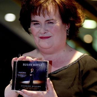 Susan Boyle signs copies of her new CD Standing Ovation at HMV Glasgow