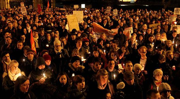 Protesters during a march in O'Connell Street, Dublin, to demand legislation on abortion after the death of Savita Halappanavar