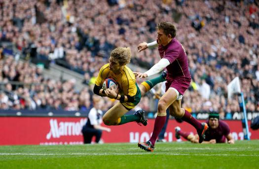 Aussie wing wizard Nick Cummins makes the Poms winge with this meat pie at Twickers