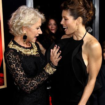 Dame Helen Mirren and Jessica Biel attend the LA premiere of Hitchcock