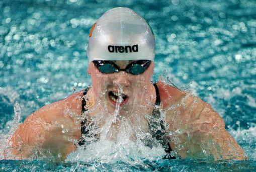 Making waves: Sycerika McMahon on her way to bronze at the European short course championships