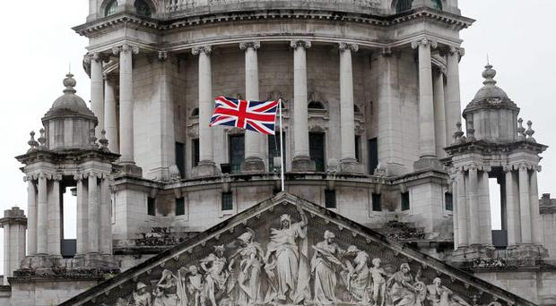 The Union flag at Belfast City Hall, an issue which splits the parties